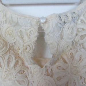 INC International Concepts Tops - INC Cream Sleeveless Floral Lace Blouse, Medium